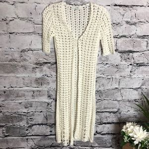 XXI Cream Crochet Long Sweater Cardigan.